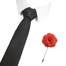 2019 New Formal Classic Polyester Woven Dot Necktie Free Gift Brooch 7.5 CM Wedding Business Male Casual Gravata Ties For Men