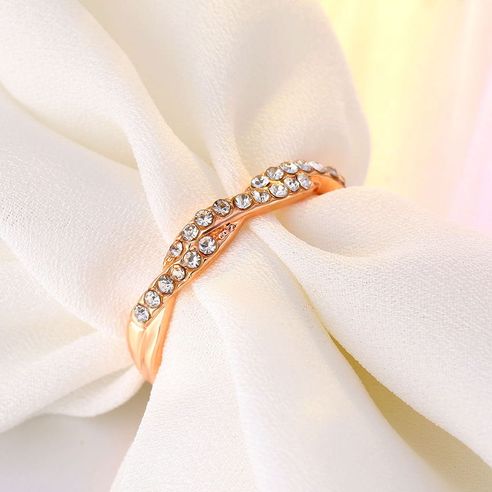 IPARAM Pattern Twisted Rope Hemp Flowers Ring Plating Rose Gold Silver Micro Cubic Zirconia Tail Ring Fashion Women's Jewelry 2