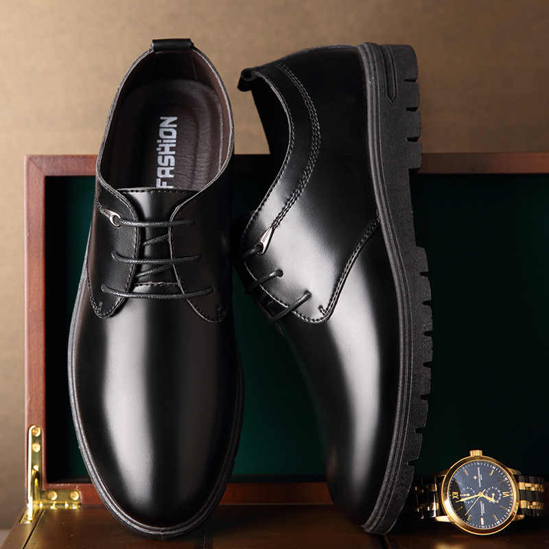 Mazefeng 2019 New Spring Single Shoes Male Leather Shoes Business Men Dress Shoes Solid Fashion Round Toe Lace-Up Leather Shoes