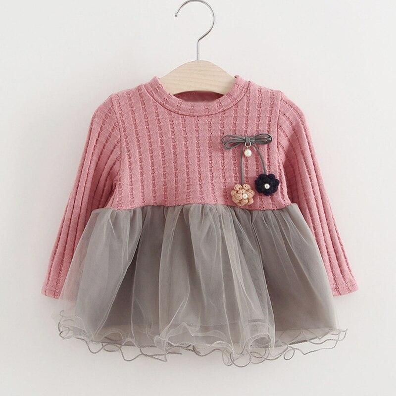 Baby Girls Dresses New Spring Autumn 0-3 Year Wear Fashion Sweet Style Flower Decoration Princess Dress Baby Kids Clothing