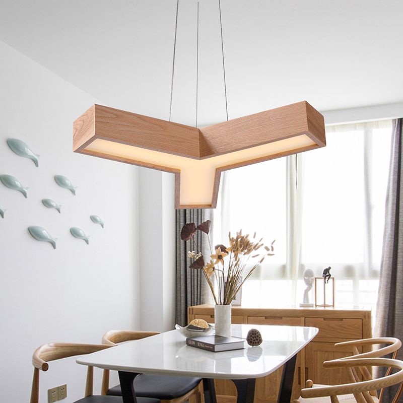 Solid Wooden Maple Leaf Pendant Lamp Creative Personality