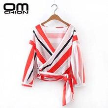 OMCHION 2017 New European Style Women Blouse Striped Novelty Shirt Women Fashion Long Sleeve V Neck Tops BT43