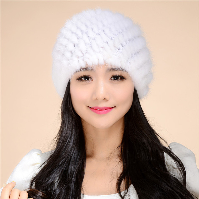2016 Hot Sale New Women Warm Genuine Knit  mink Hat Cap Beadgear Headdress Various Fashion Women Lady Hat Free Shipping.#SD1