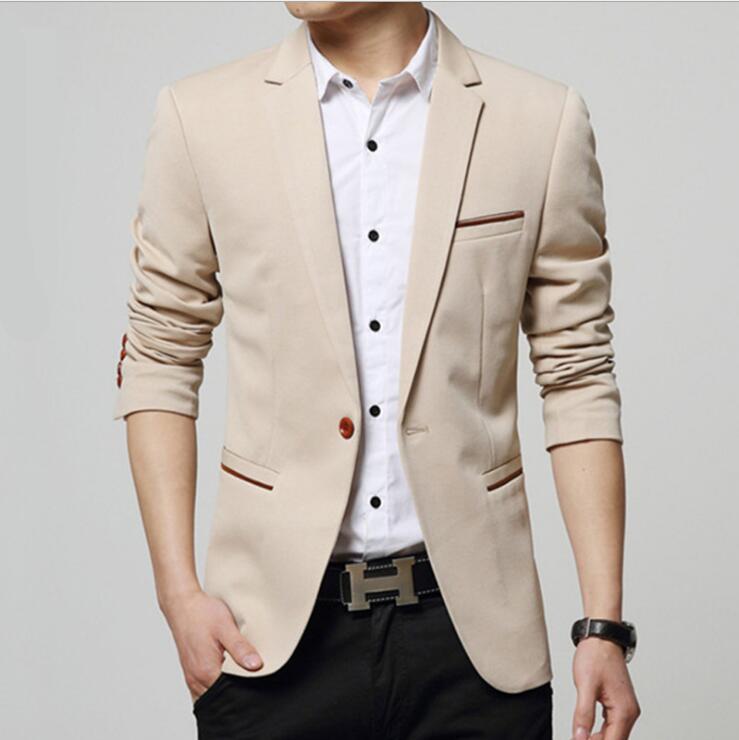 2018 New Slim Fit Men Blazer Jacket Terno Masculino One Button Blazer Jacket Best Man Casual Suits Black Dark Blue (Only Jacket)