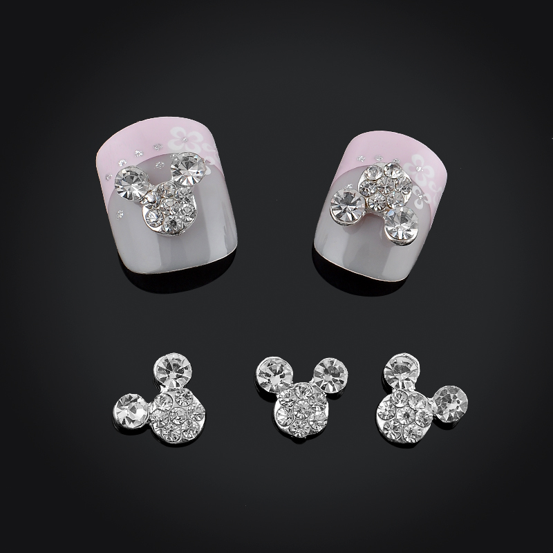 Alta calidad Glitter Full Drill Mouse Nial Art Decorations Aleación Rhinestones 3d Nail Jewelry Charms para uñas