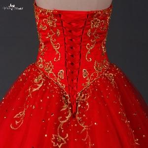 Image 5 - TW0194 czerwona suknia ślubna złoty haft Sweethearted z suknia balowa obszywana koralikami pakistańskie suknie ślubne