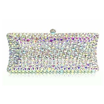 women silver crystal Beaded Evening Minaudiere Metal day Clutches Bag diamond Wedding Party Purse Bridal gift clutch bag Handbag