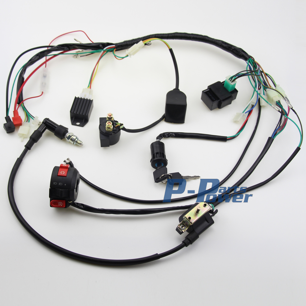 popular atv wiring harness buy cheap atv wiring harness lots from full electrics wiring harness coil cdi assembly 50 70 110cc atv quad bike buggy