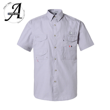 Short Sleeve Fishing Casual Shirts Wicking Fabric Sun Protection Quick Dry Outdoor Mens Summer Shirts Breathable Camping Shirts