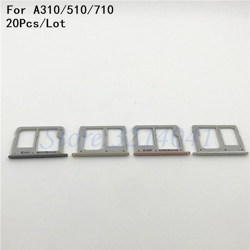20Pcs/Lot Original Housing SIM Card micro SD Tray Slot Holder For Samsung Galaxy A310 A510 A710 ( A3 A5 A7 2016 Version )