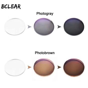 цена на BCLEAR 1.56 Transition Photochromic Glasses Optical Lenses Myopia Presbyopia Sunglasses Single Vision Lens Gray Brown Chameleon