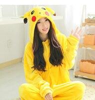 Adult Woman Man Halloween Cosplay Costume Pokemon Onesies Costume Pikachu Pajamas Cosplay Pyjamas Sleepwear Winter One Piece