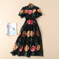 Высокое качество Цветочная вышивка Сетчатое платье 2019 модное дизайнерское подиумное платье с коротким рукавом винтажные сексуальные миди