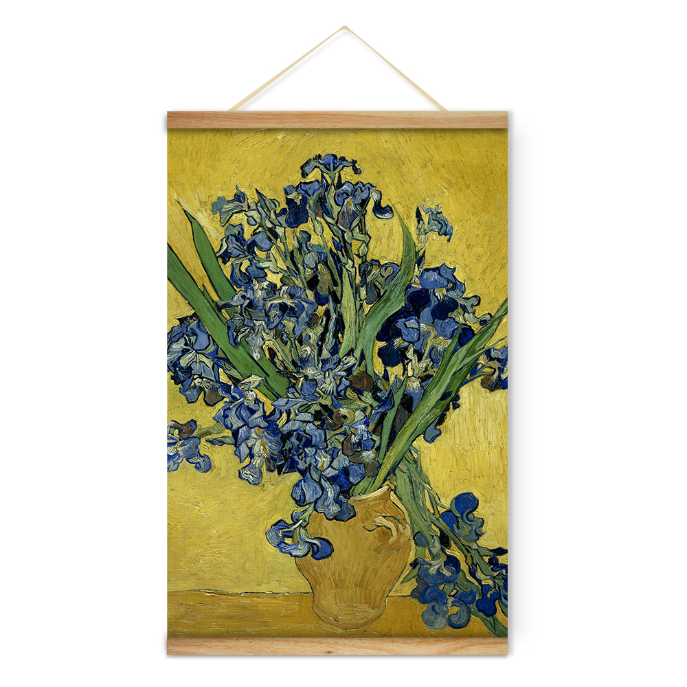 Impressionist Van Gogh Vase with Irises Against a Yellow Background ...