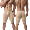 Men Ultra-thin Underwear Transparent Men Boxer Sculpting Half-length Solid U Convex Pouch Boxer Mens Long Underwear