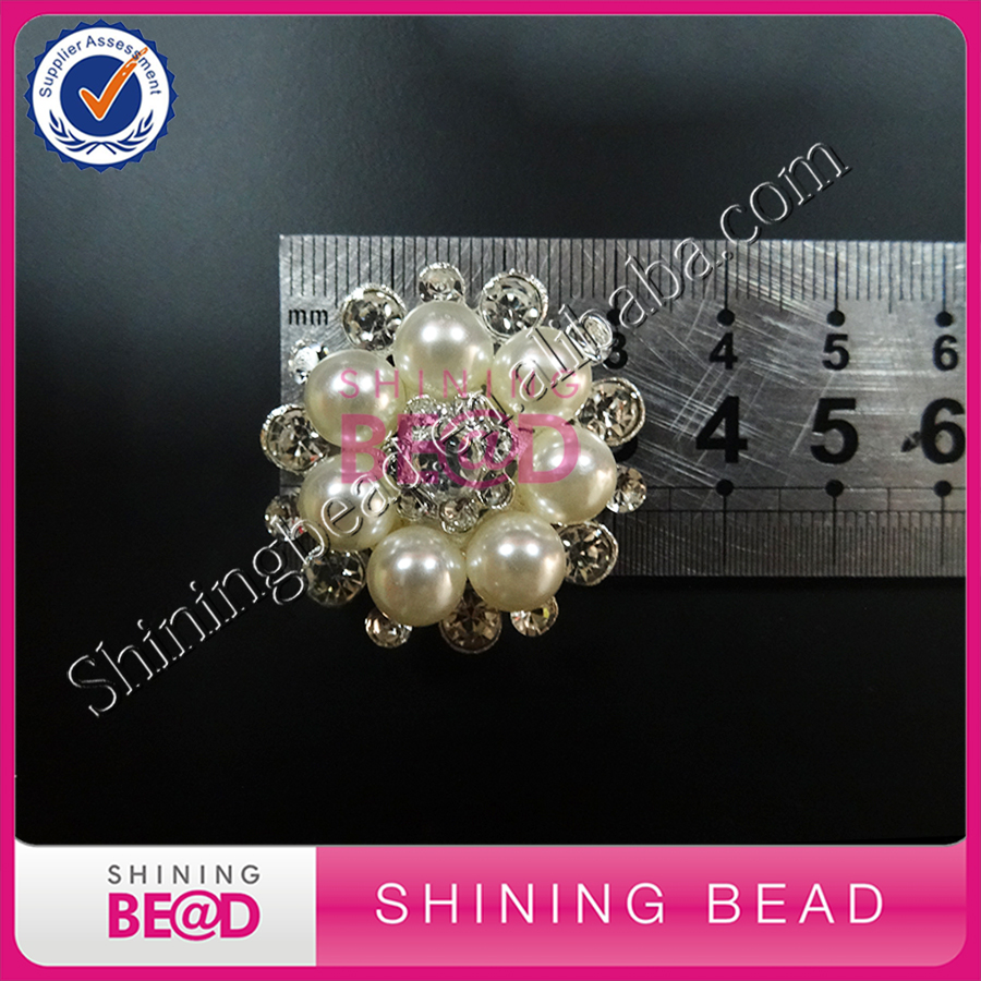 100pcs/lot+Fashion bridal wedding jewelry pearl brooch Pearl Flower Buttons Embellishmen ...