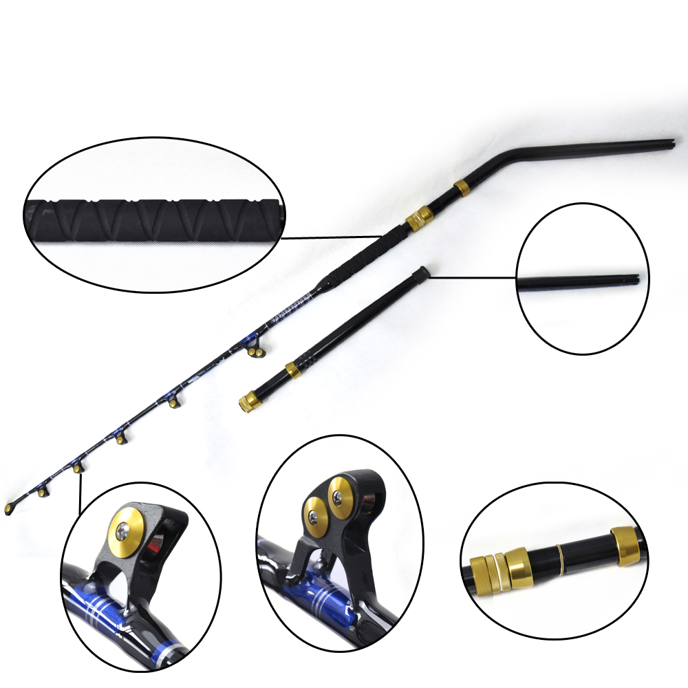 80lbs 5'6'' Alu Butt roller guide pacific bay Fishing Trolling Rod bluewater carrot stix trolling pac bay guides med fast 6ft 6in