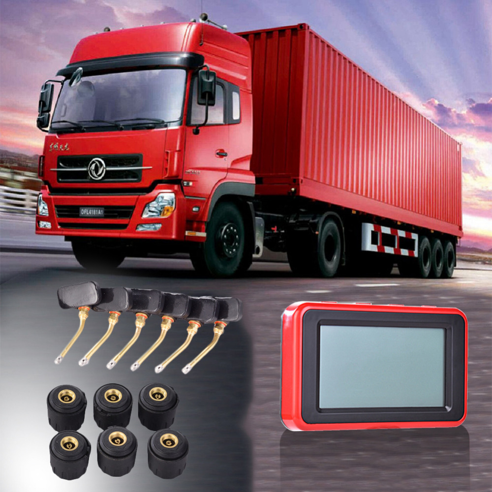 TP900 Universal Super LCD Car TRUCK TPMS Tire Pressure Monitoring System for 6 Wheels Bu ...