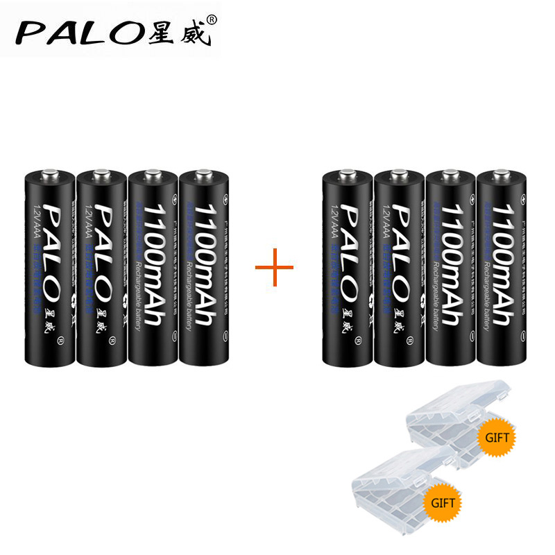PALO 8pcs Original 3A AAA Rechargeable battery 1100mAh 1.2V AAA NIMH Rechargeable batteries sanyo 1000mah rechargeable nimh aaa battery cyan black 4 pcs