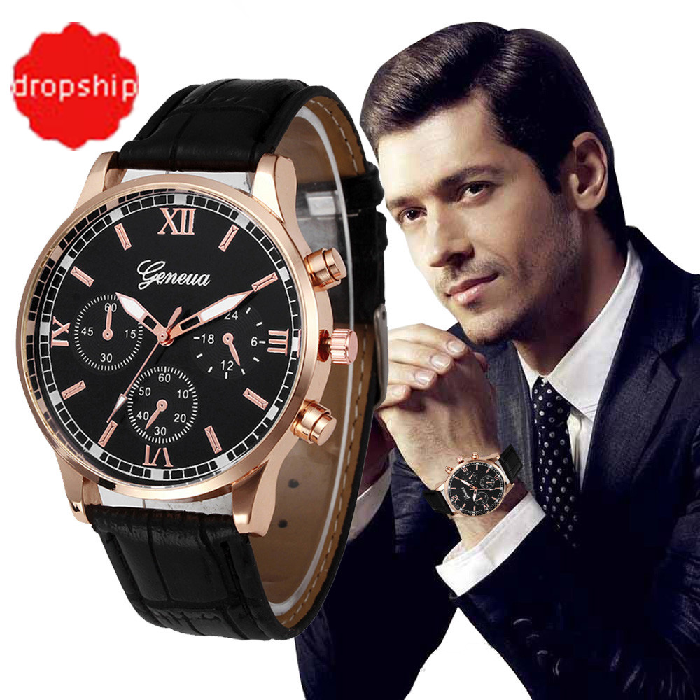 купить Drop shipping Retro Design Leather Band Analog Alloy Quartz Wrist Watch Relogio Masculino по цене 70.04 рублей