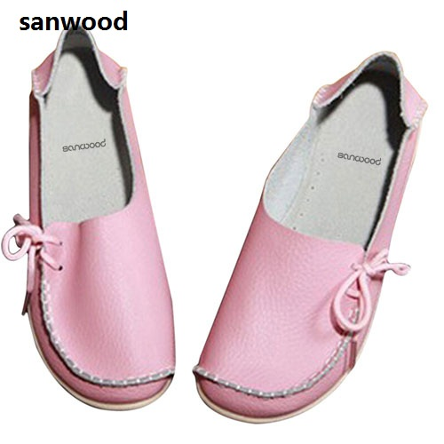 Women Leather Leisure Flat Heel Casual Bowknot Loafer Round Toe Boat Shoes плита tesler pe 10 white