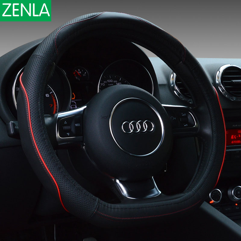 ZENLA luxury Car leather steering wheel cover D type car styling steering-wheel car accessories for volkswagen for mazda 38cm free shipping car styling sew on genuine leather car steering wheel cover car accessories for 2015 2016 new ford mustang