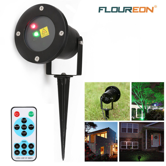 Floureon Outdoor Red and Green Dynamic Firefly Laser Projector & Starry Laser Lawn Light Waterproof for Garden/Holiday/Christmas