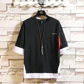Moda pół rękawy moda O NECK t-shirt z nadrukiem męska bawełna 2020 letnie ubrania koszulki Tshirt Plus rozmiar azjatycki M-5X tanie i dobre opinie Lance Donovan Połowa O-neck Topy Tees Suknem COTTON Poliester Hip Hop Stałe WSY-T18838