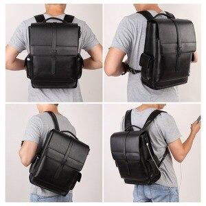 Image 5 - BISON DENIM Genuine Leather 14 inches Backpack Mens Travel Bag Waterproof Daypack USB Charging School Backpack N2645