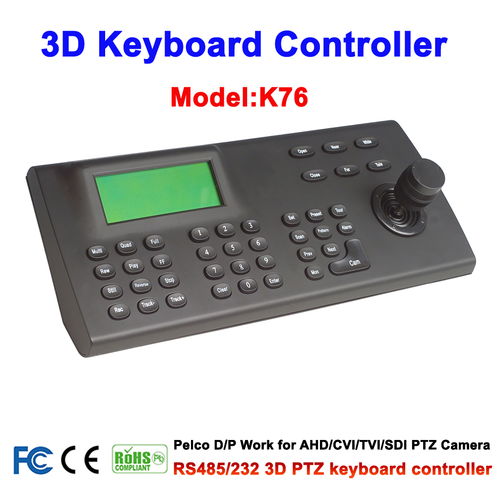 CCTV LCD Screen Display 3 Axis joystick RS485 Pelco Protocol keyboard controller for PTZ Cam Camera wholesale hvt 2601 3 5 tft lcd camera cctv poe tester ptz controller zoom dvr