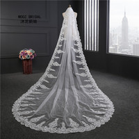Lace Bridal Veils Luxury Hand Made Crystals Rhinestones Sequins Lace Edge Real Image 3.5 m Length Long Wedding Veil 2017