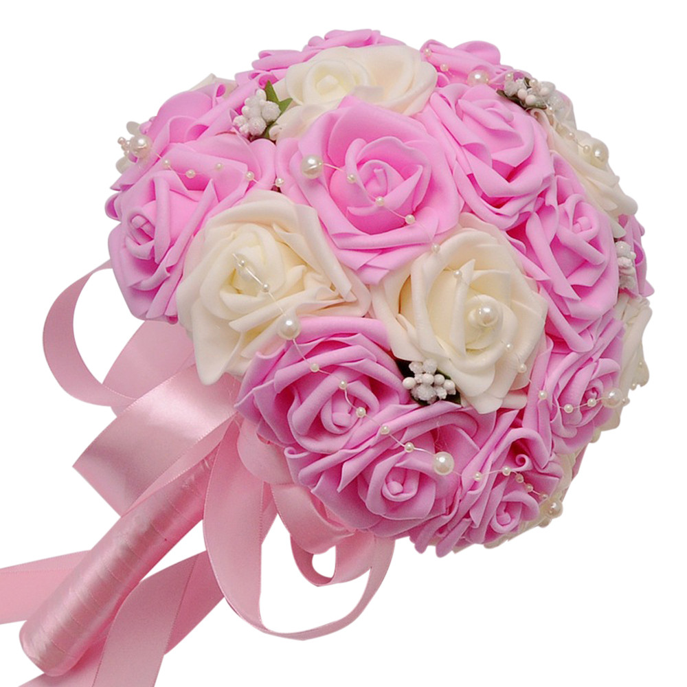 2017 Hot Sale On Crystal Roses Pearl Bridesmaid Wedding Bouquet