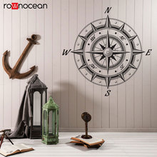 Sea Nautical Compass Wind Rose Retro Style Decor Wall Stickers Vinyl Home Removable Decals Mural Self Adhesive Wallpaper 3151
