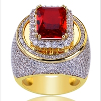 Hip Hop Classic Gold Color Plated Cubic Zircon Big Red Stone Ring Personality Fashion Men Women Jewelry Lover Gift Top Quality