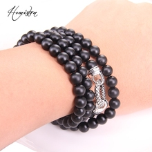 Thomas Black Obsidian Matted Beads with Circle Clasp Ribbon Chain Necklace, TS-Rebel Heart Style Jewelry for Men TS-N87