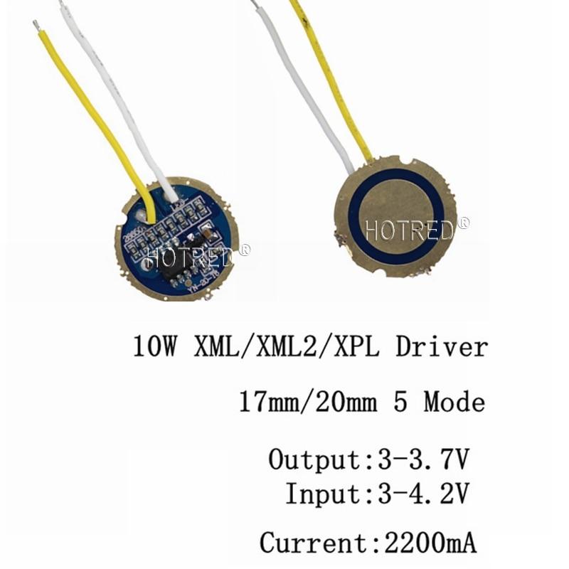 1PCS 5PCS Cree Xml Led XPL Xml2 Led T6 U2 Driver 17mm 20mm 3-4.2V 2.2A 5-Mode LED Driver For CREE XM-L LED Emitter