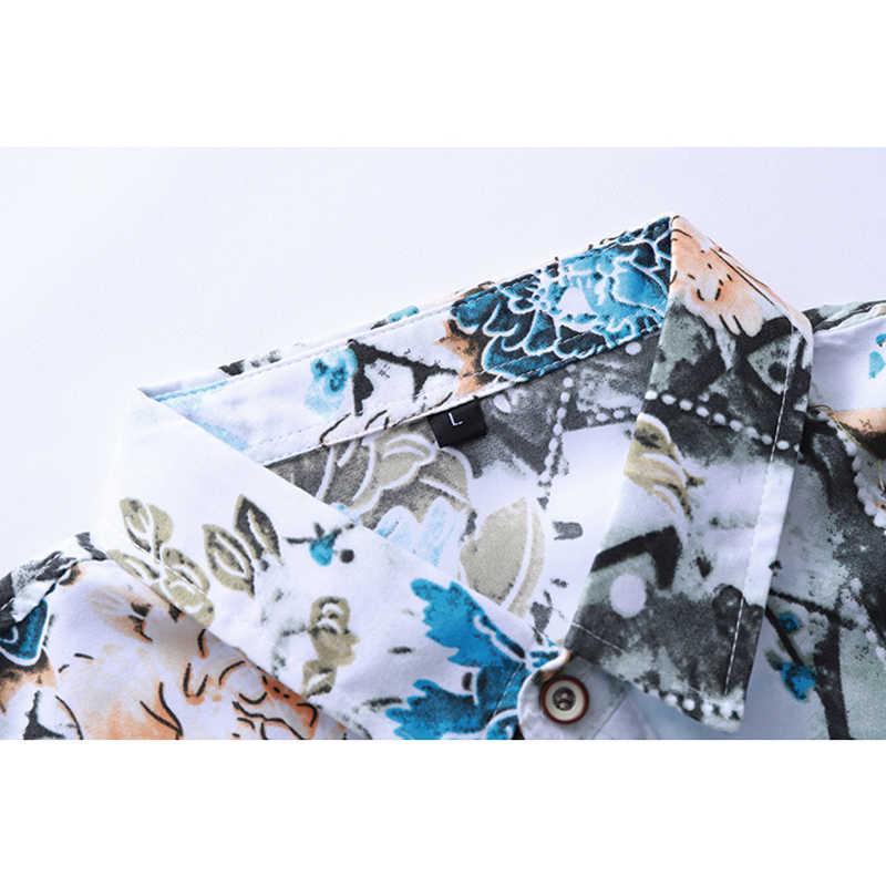2020 degli uomini di autunno Lungo Del Fiore Del Manicotto Della Camicia di Stile Cinese di Stampa di Modo di Affari Slim Fit Casual Camicette Più Il Formato 5XL 6XL 7XL
