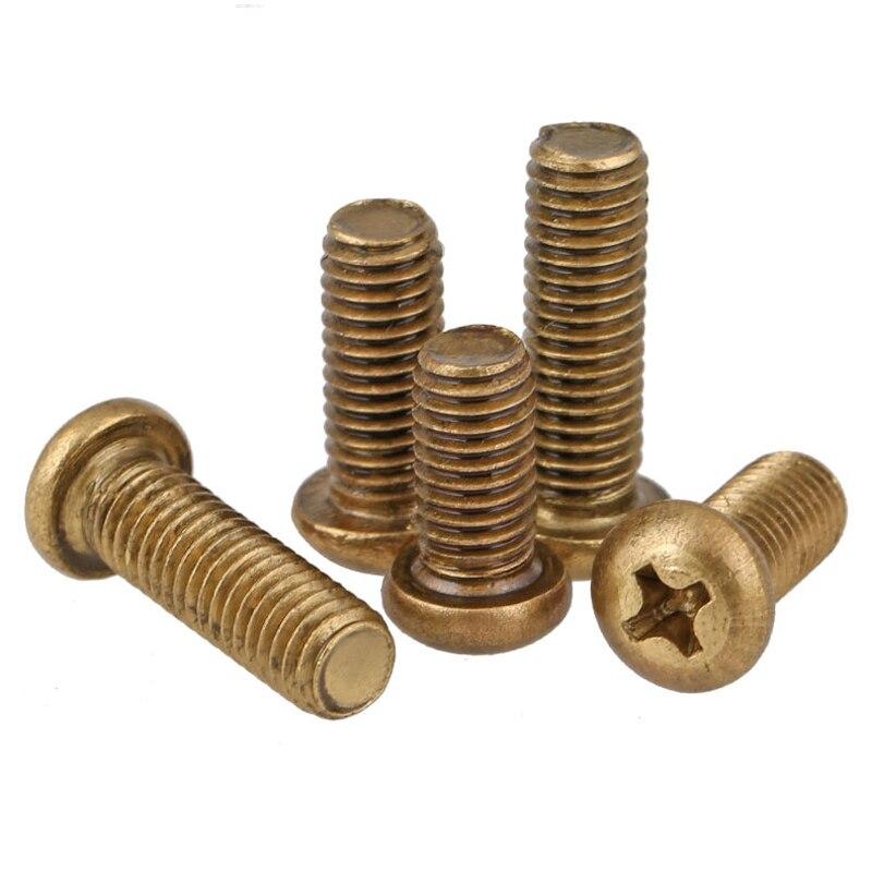M3 Copper Round Cross Machine Teeth Screws,GB818 Copper Screws, Pan Head Screws, Round Head Screws M3*6/8/10/12/16..30 special copper screws copper hexagon bolt copper outer hexagonal screws m16 80