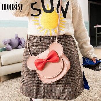 Monsisy 2019 Girl Coin Purse Handbag Children Wallet Small Coin Box Bag Cute Mouse Bow Kid Money Bag Baby Shoulder Bag Purse 1