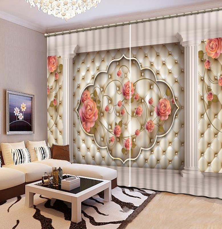 European Style 3d Curtains Soft Roses 3d Photo Living Room Curtains Modern Kitchen  Curtains For Any