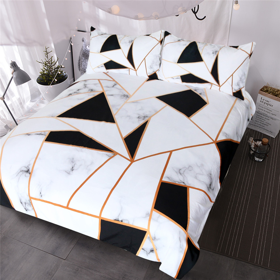 BlessLiving Irregular Geometric Printed Bedding Set Black and White Duvet Cover Set Marble Texture Bed Cover