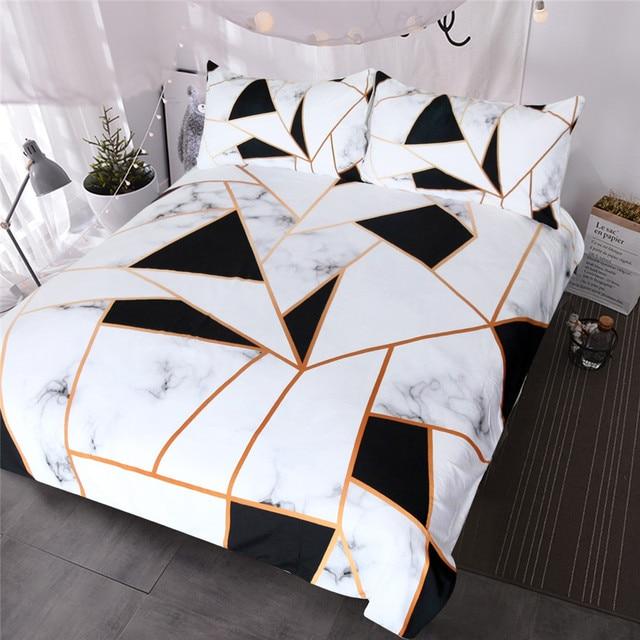 Blessliving Irregular Geometric Printed Bedding Set Black And White Duvet Cover Marble Texture Bed