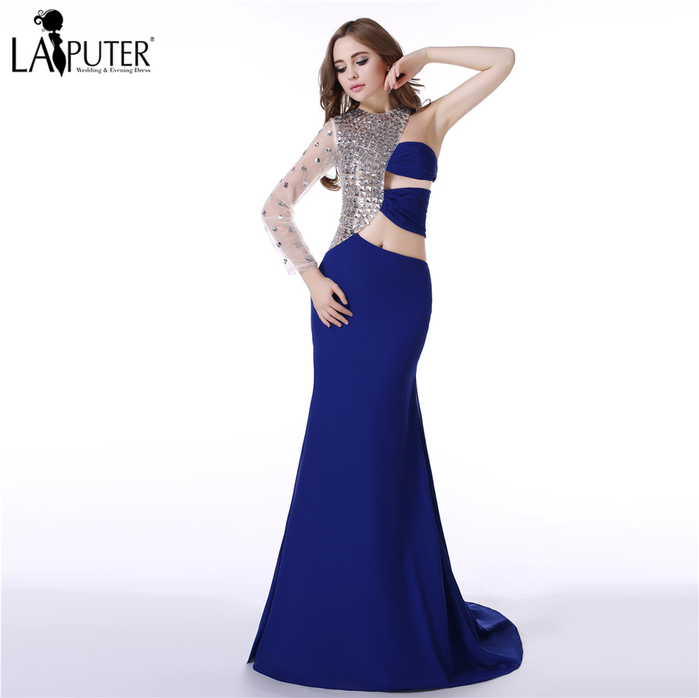 Elegant Crystals One Shoulder Formal Blue White Prom Dresses 2017 Dubai  Kaftan Mermaid Evening Dress Saree Party Gowns-in Evening Dresses from  Weddings ... 9ada56f0b765