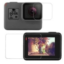 Защитное покрытие из закаленного стекла чехол для GoPro экшн-камеры Go pro Hero 5 6 7 Hero5 Hero6 Hero7 черный объектив камеры lcd Экран защитная пленка