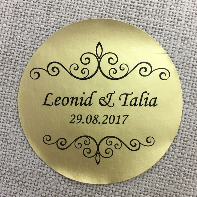 Custom 100 pcs personalized pvc wedding stickers party any size matt gold clear sticker design clear