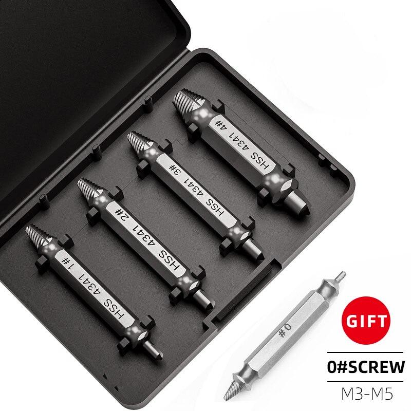 Kit de herramientas para extraer tornillos dañados, Extractor de tornillos de doble cara, fácil de quitar, 5 uds.