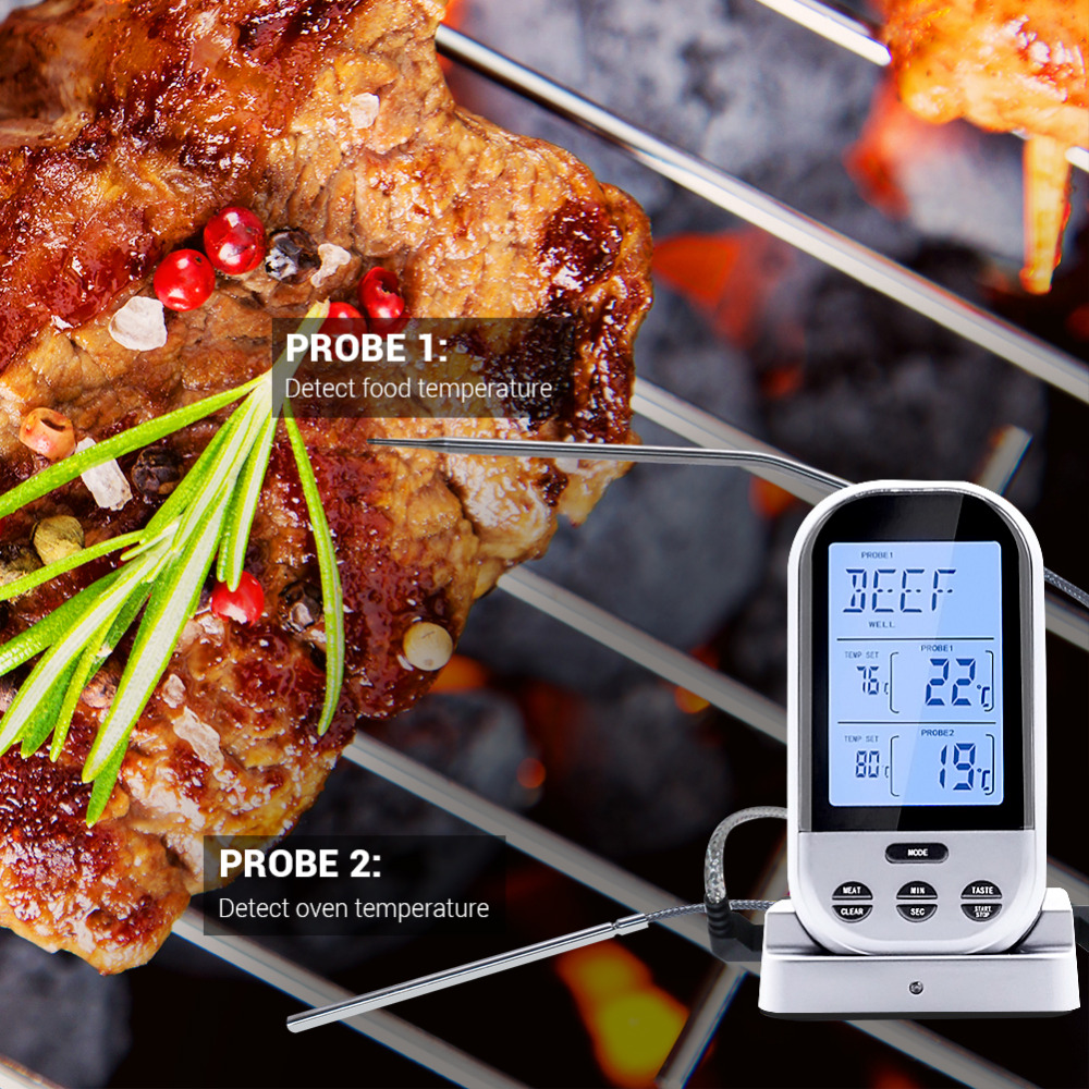 Digital Meat Thermometer Wireless Remote Instant Read Food Cooking Thermometer Oven Safe Digital Dual Probe Thermometer for Gril