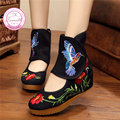 Colibrí Estilo Chino Noble Mary Janes Dentro Aumento Paño Bordado 5 cm Bombea Zapatos de Mujer Zapatos de Baile
