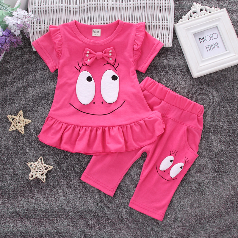 2018 New Girls Cotton Casual Sport Suit Children Two Piece Cartoon Big Eyes Set Fashion Kids Short Sleeve Suit