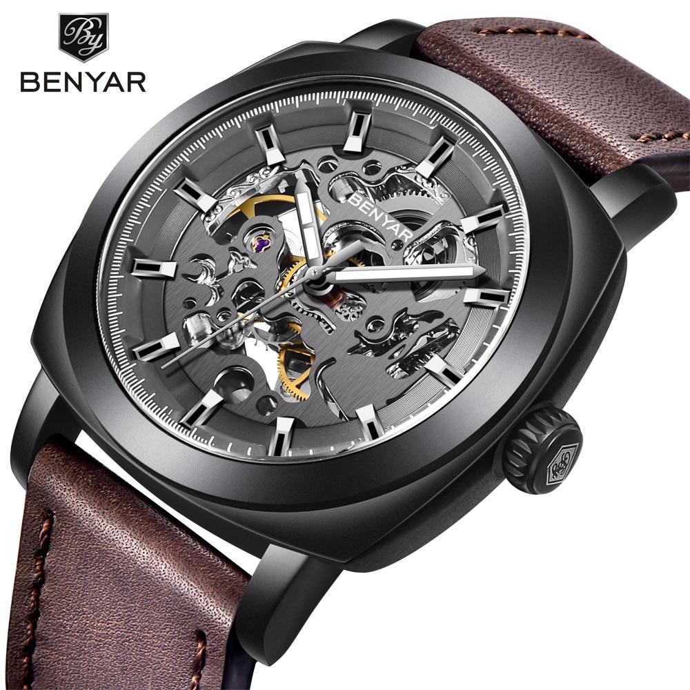 Benyar relógios masculinos topo da marca de luxo negócio automático relógio mecânico à prova dwaterproof água esporte relógios pulso relogio masculino